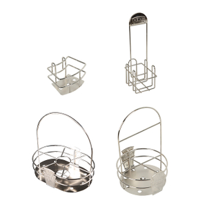 Tabletop Stainless Steel Condiment Caddy Holder Basket To Hold Heinz Bottle