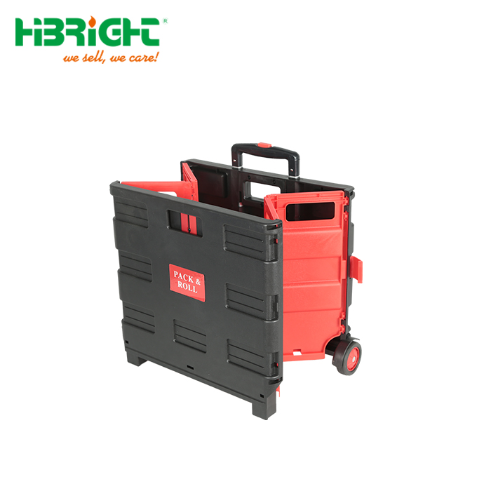 Plastic Box Rolling Folding Shopping Trolley Cart with Seat