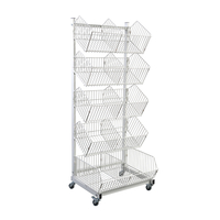5 Basket Movable Wire Display Rack