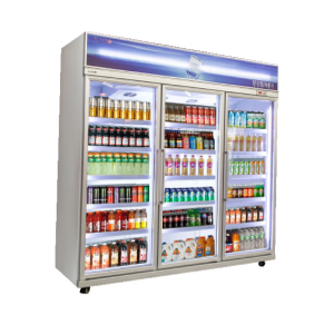 Plug-in Vertical Multi-deck Daily Refrigerated Air Cooling 1~10℃ Chiller with Glass Door And Advertisement Board
