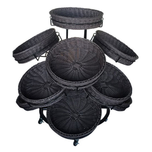 Round Plastic Rattan Basket with Display Shelf