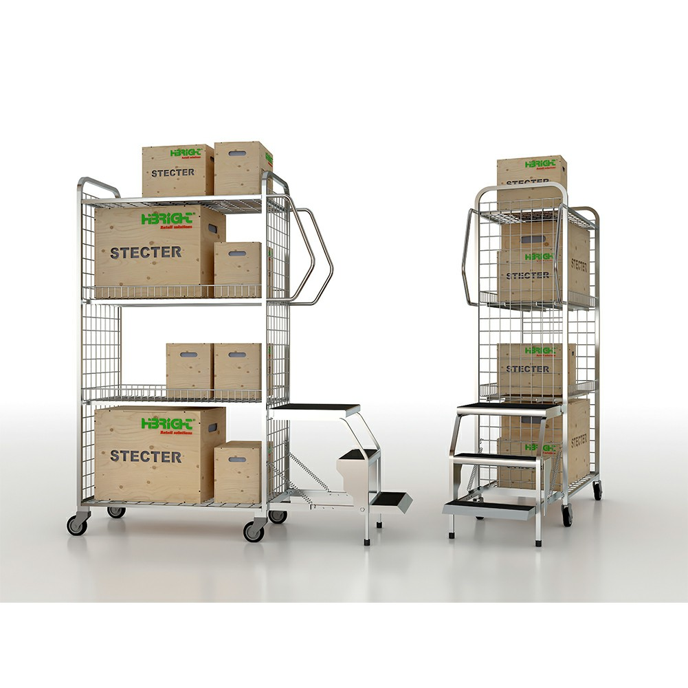 Warehouse Trolley with Step Ladder